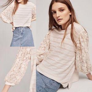 Anthropologie Chelsea Stripe Pullover In Cream M